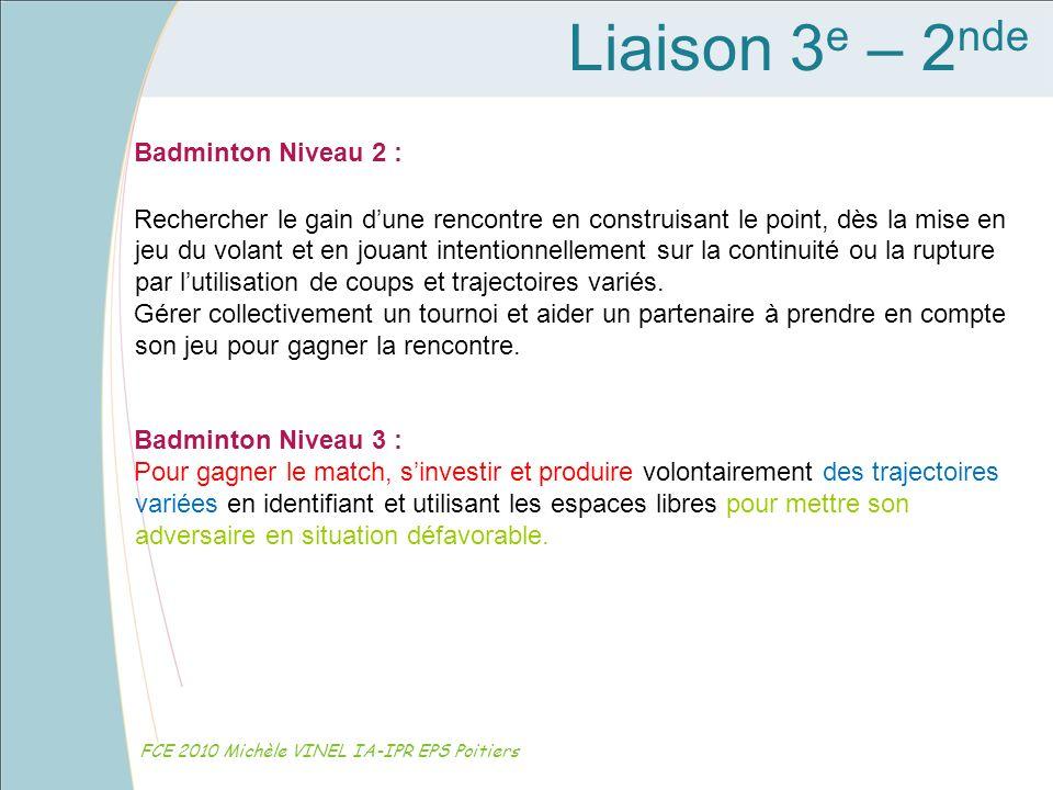 Liaison 3e – 2nde Badminton Niveau 2 :