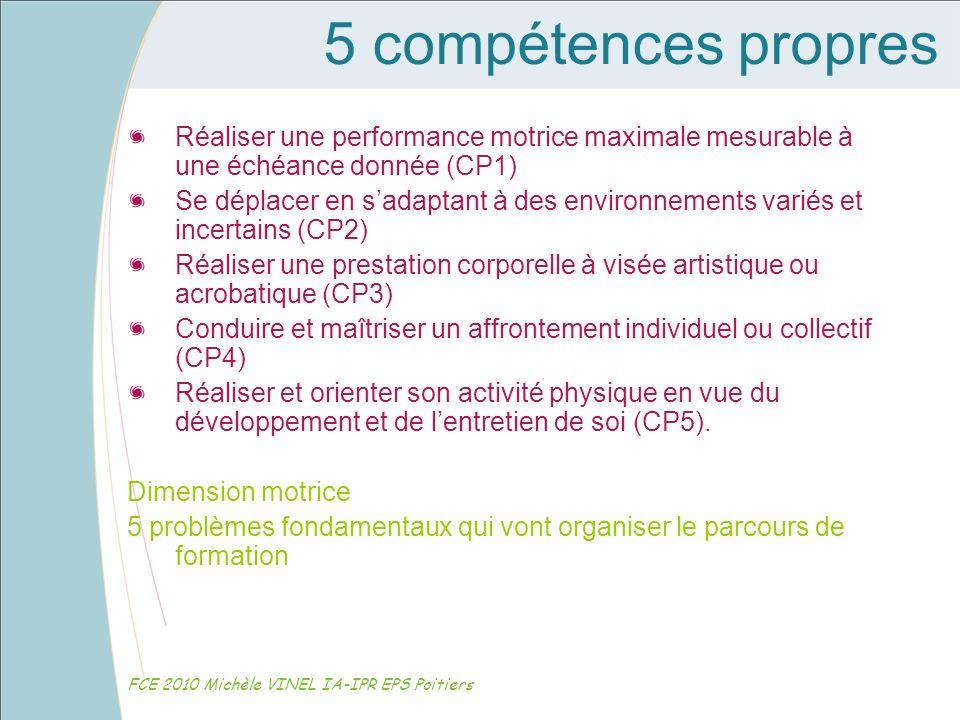 5 compétences propres Réaliser une performance motrice maximale mesurable à une échéance donnée (CP1)