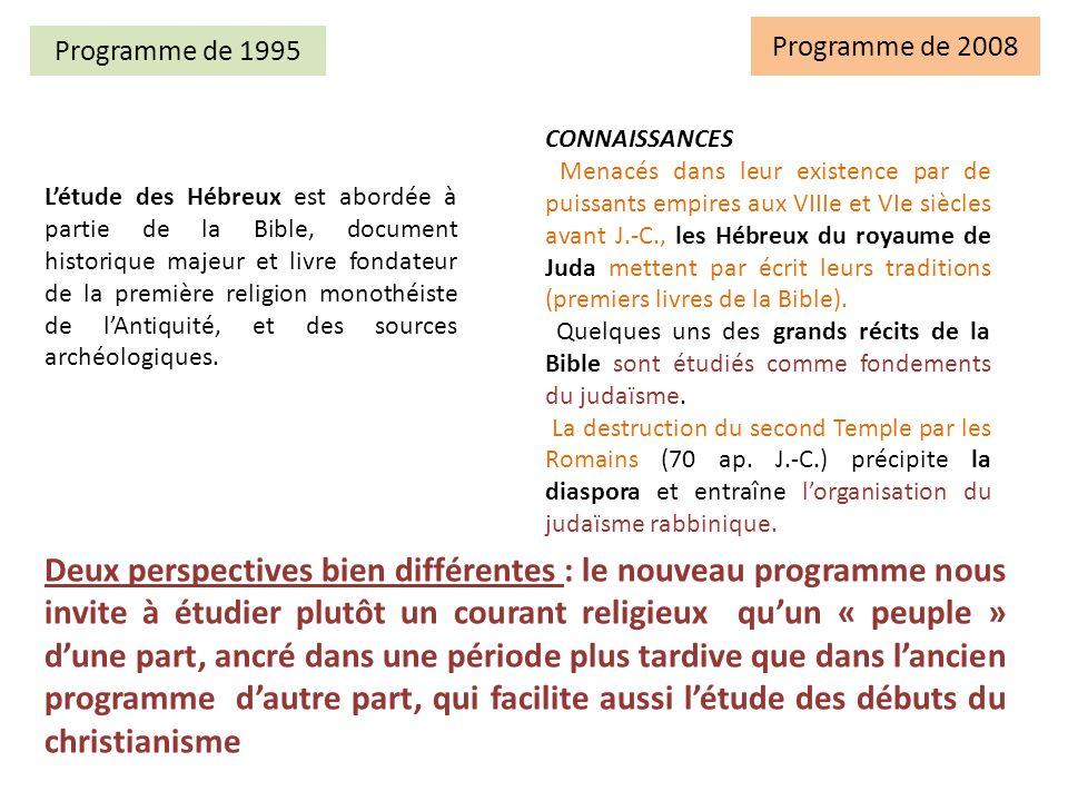 Programme de 2008 Programme de 1995. Connaissances.