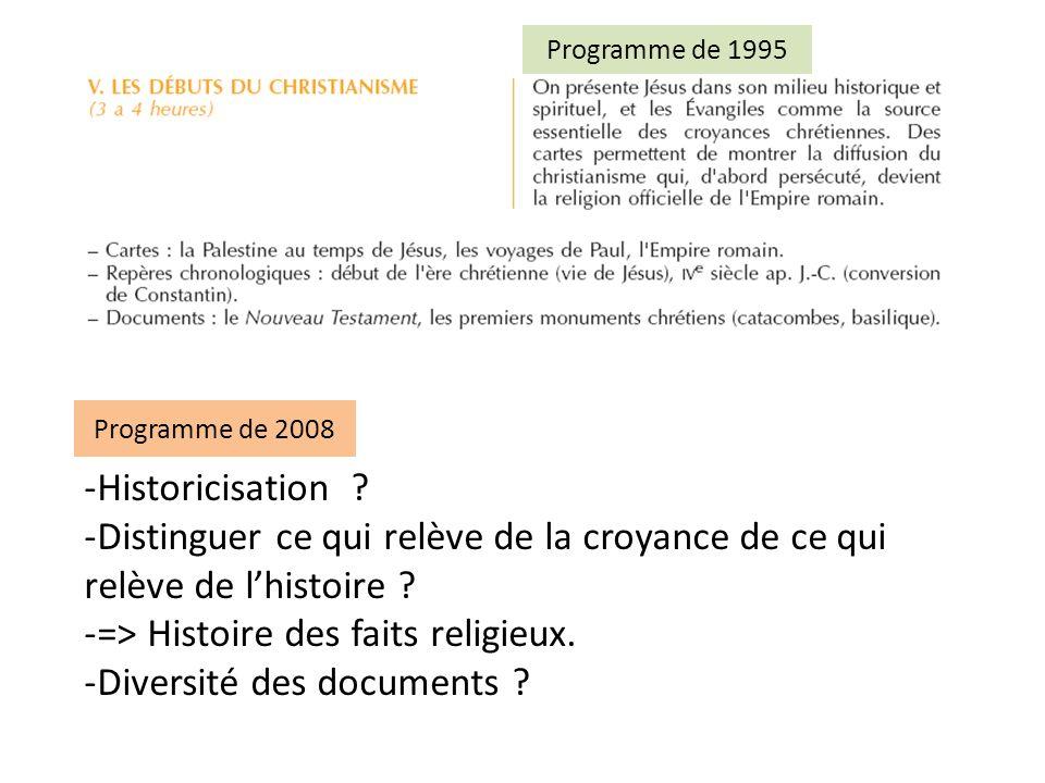 => Histoire des faits religieux. Diversité des documents