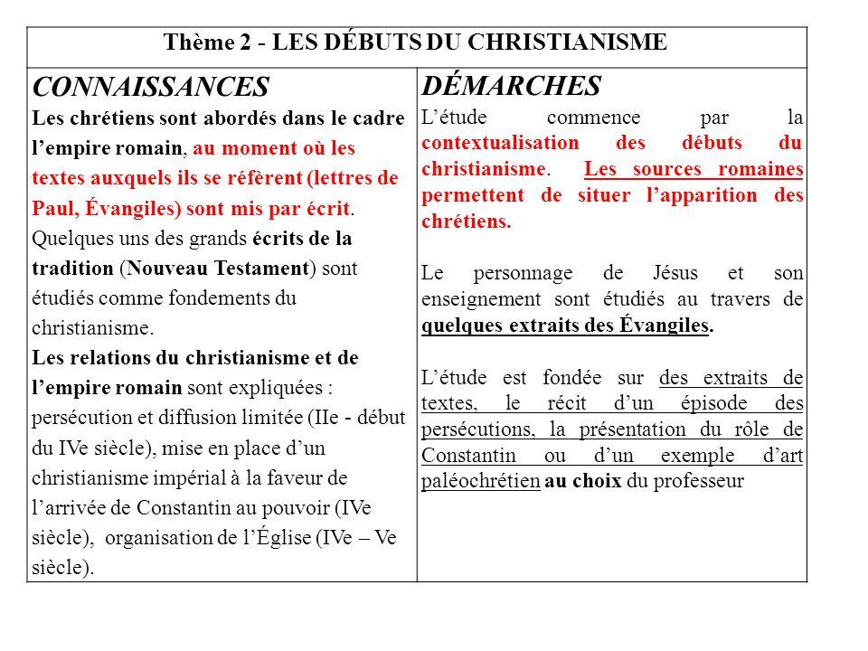 Thème 2 - LES DÉBUTS DU CHRISTIANISME