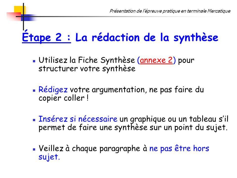 Étape 2 : La rédaction de la synthèse