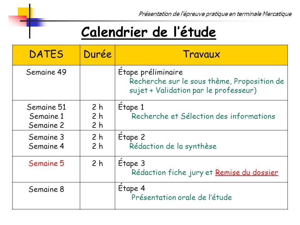 Calendrier de l'étude DATES Durée Travaux Semaine 49