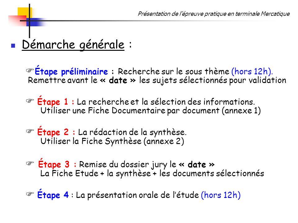 Démarche générale : Étape préliminaire : Recherche sur le sous thème (hors 12h). Remettre avant le « date » les sujets sélectionnés pour validation.