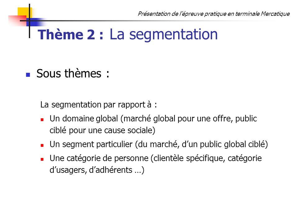 Thème 2 : La segmentation