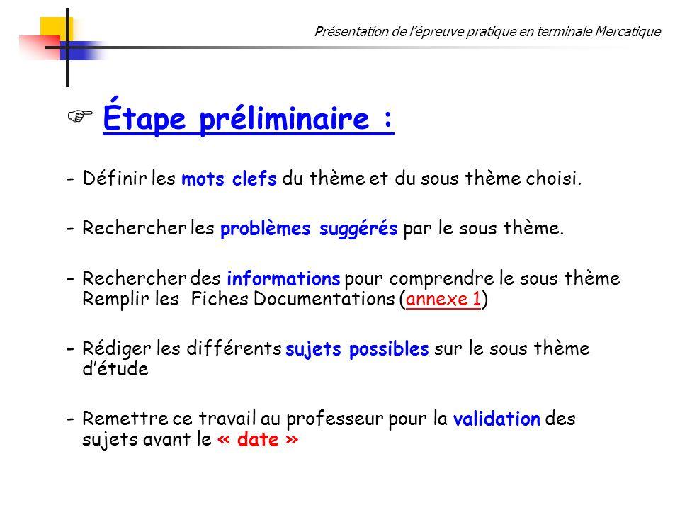 Étape préliminaire : Définir les mots clefs du thème et du sous thème choisi. Rechercher les problèmes suggérés par le sous thème.
