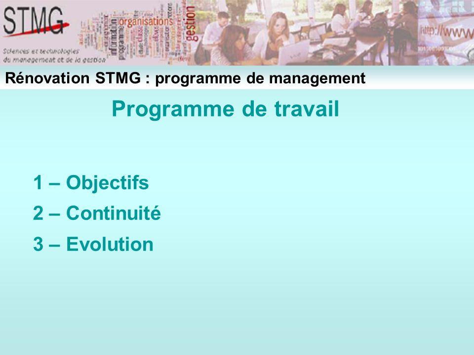 Programme de travail 1 – Objectifs 2 – Continuité 3 – Evolution