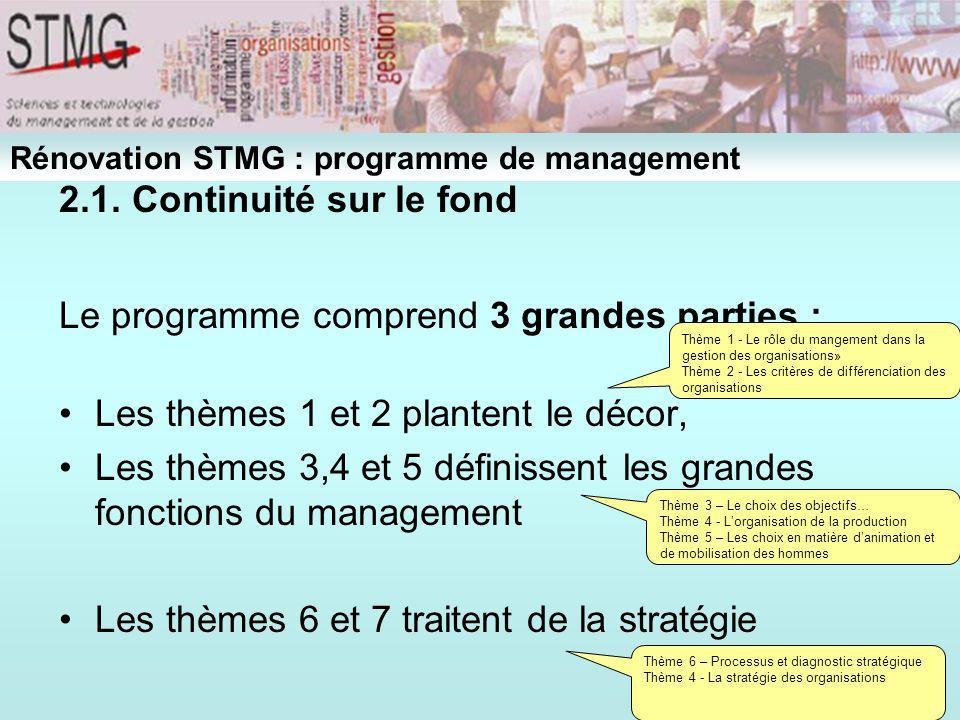 Le programme comprend 3 grandes parties :