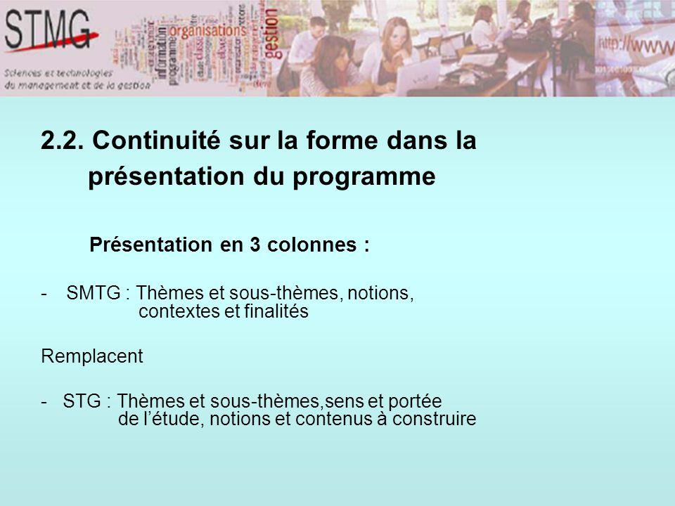 2.2. Continuité sur la forme dans la présentation du programme Présentation en 3 colonnes :