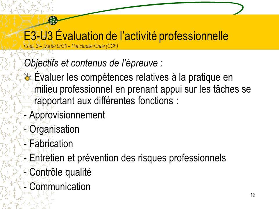 E3-U3 Évaluation de l'activité professionnelle Coef