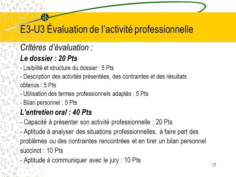 E3-U3 Évaluation de l'activité professionnelle