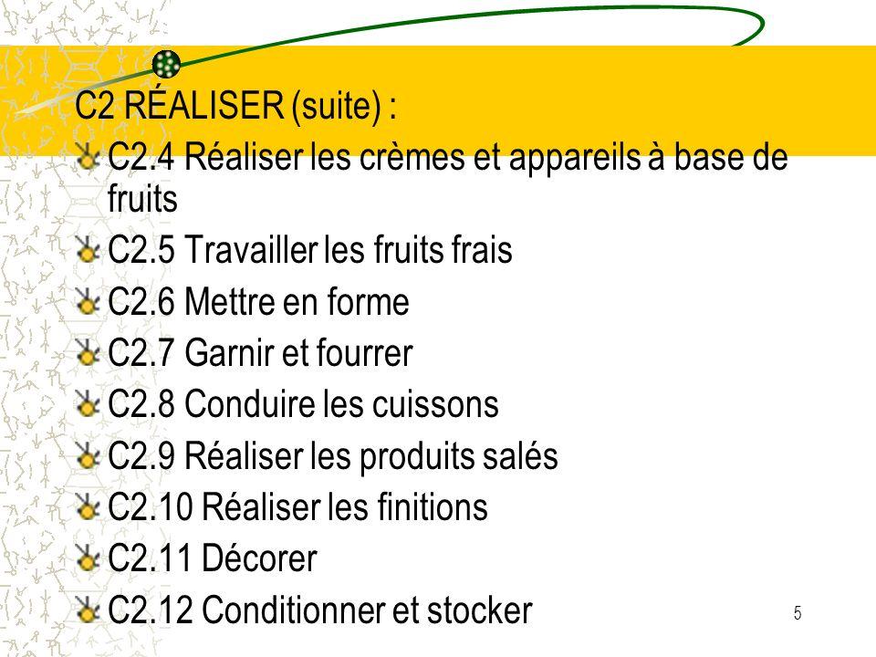 C2 RÉALISER (suite) : C2.4 Réaliser les crèmes et appareils à base de fruits. C2.5 Travailler les fruits frais.