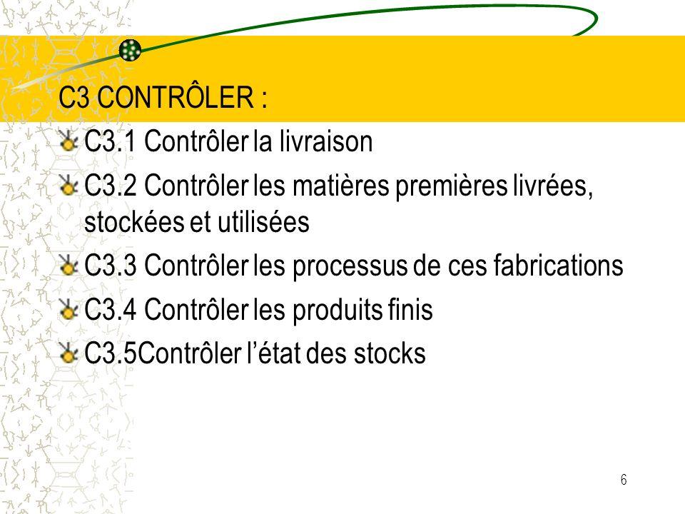 C3 CONTRÔLER :C3.1 Contrôler la livraison. C3.2 Contrôler les matières premières livrées, stockées et utilisées.