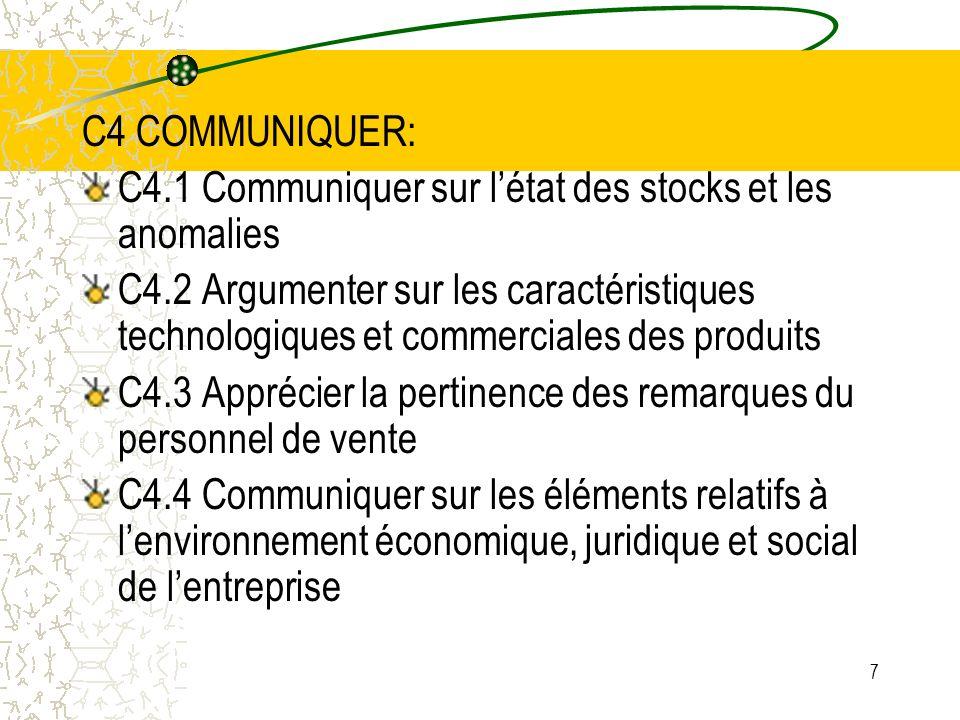 C4 COMMUNIQUER:C4.1 Communiquer sur l'état des stocks et les anomalies.