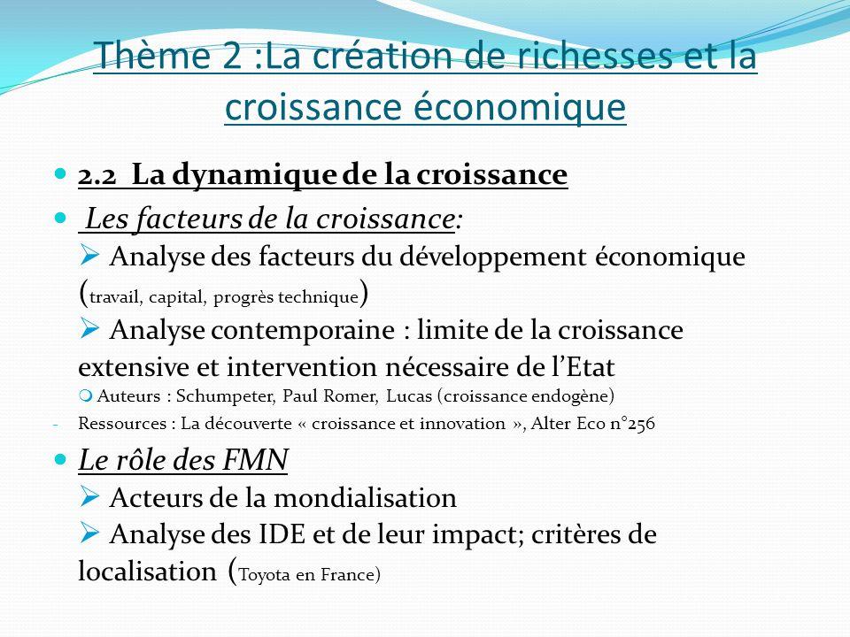 Thème 2 :La création de richesses et la croissance économique