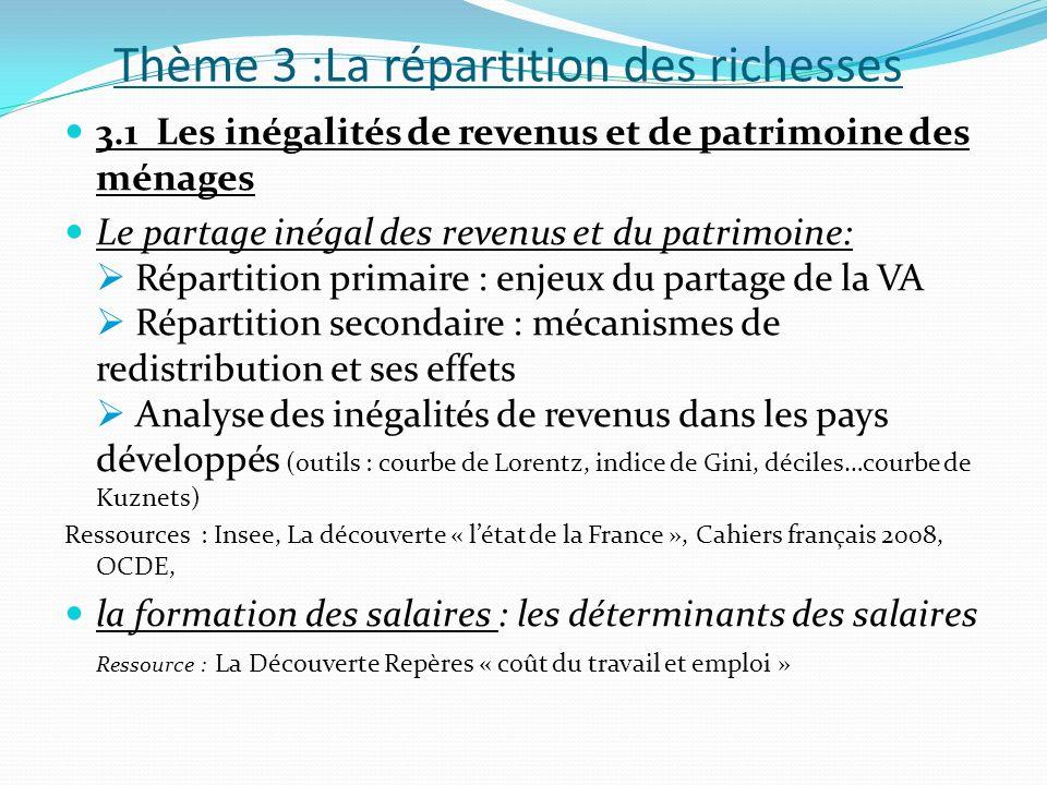 Thème 3 :La répartition des richesses