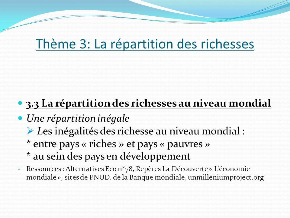 Thème 3: La répartition des richesses