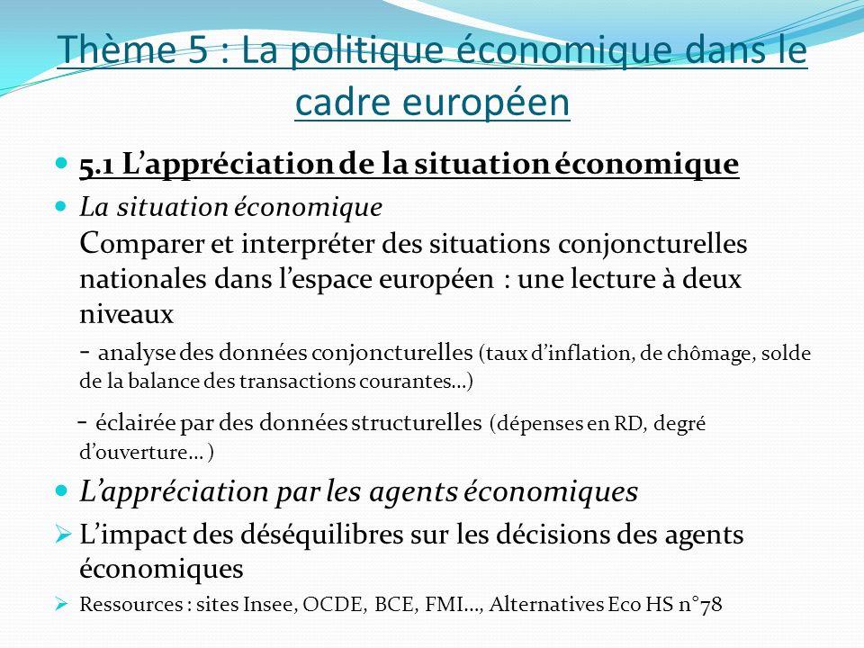 Thème 5 : La politique économique dans le cadre européen