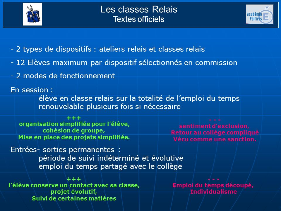 Les classes Relais Textes officiels