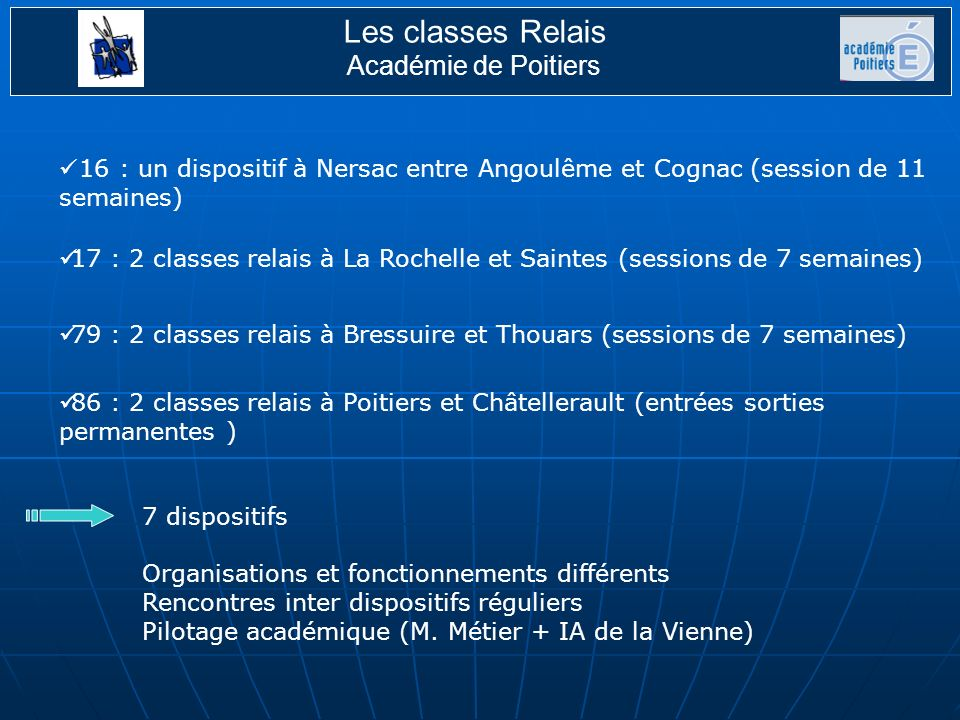 Les classes Relais Académie de Poitiers