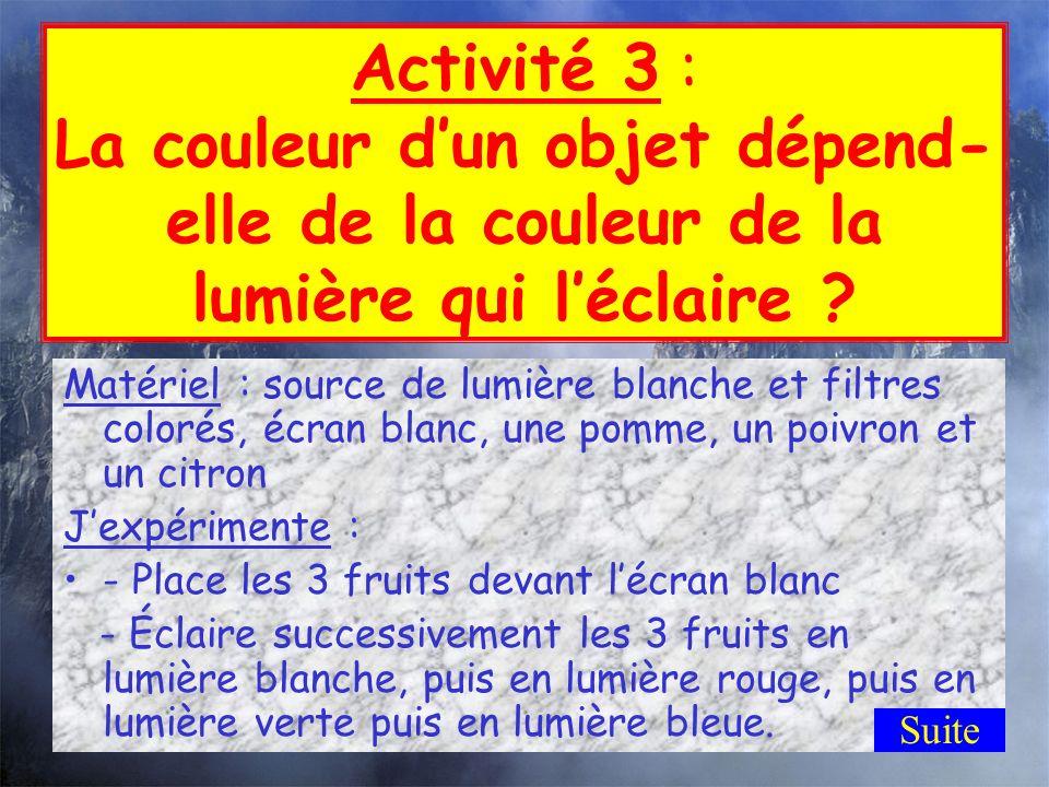 Activité 3 : La couleur d'un objet dépend-elle de la couleur de la lumière qui l'éclaire