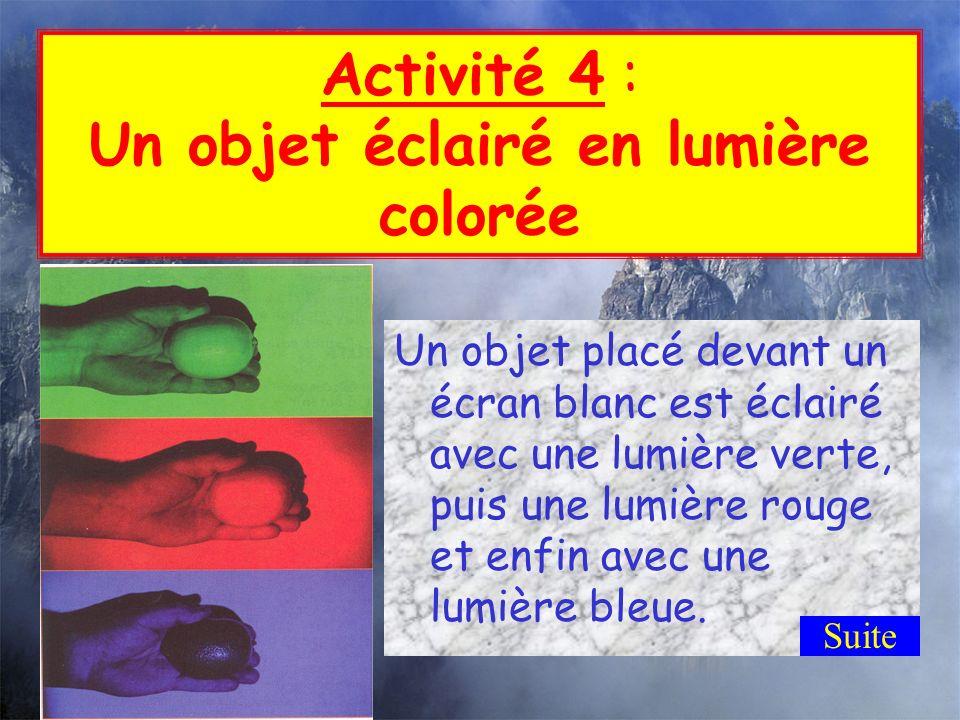 Activité 4 : Un objet éclairé en lumière colorée
