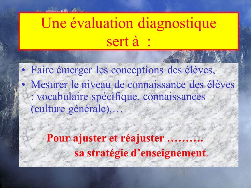 Une évaluation diagnostique sert à :