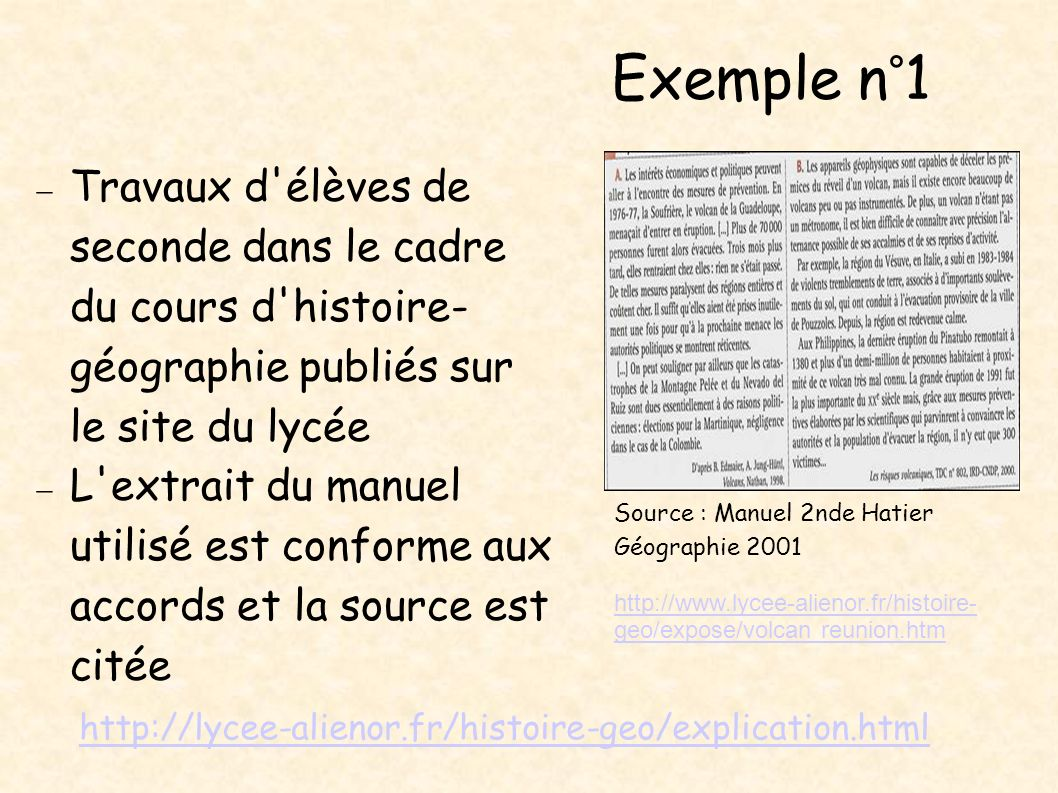 Exemple n°1 Travaux d élèves de seconde dans le cadre du cours d histoire-géographie publiés sur le site du lycée.