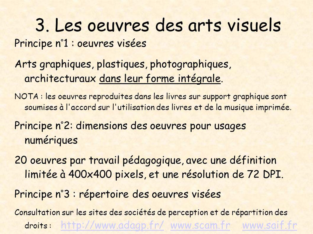 3. Les oeuvres des arts visuels