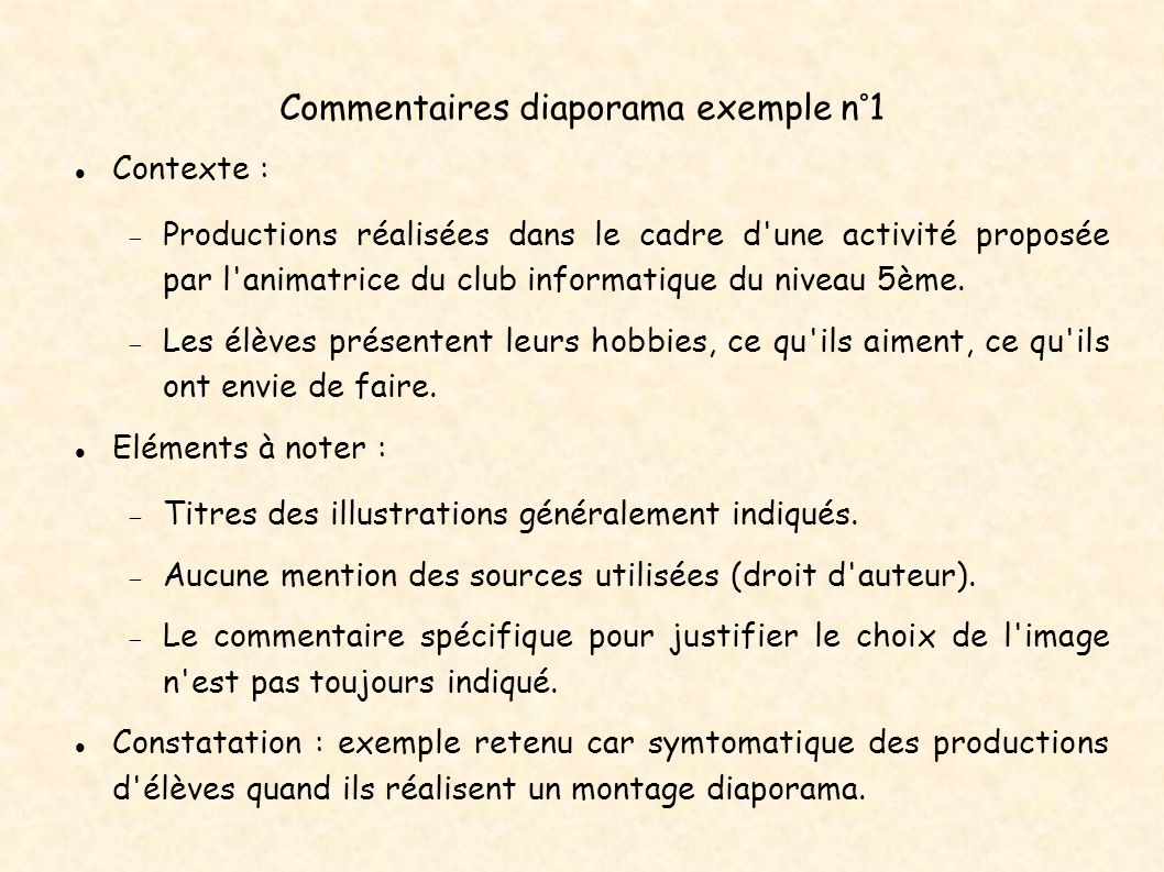 Commentaires diaporama exemple n°1