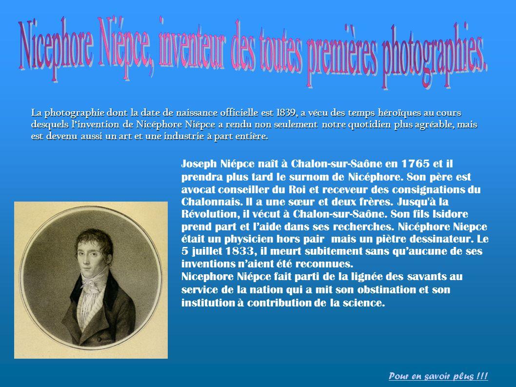 Nicephore Niépce, inventeur des toutes premières photographies.