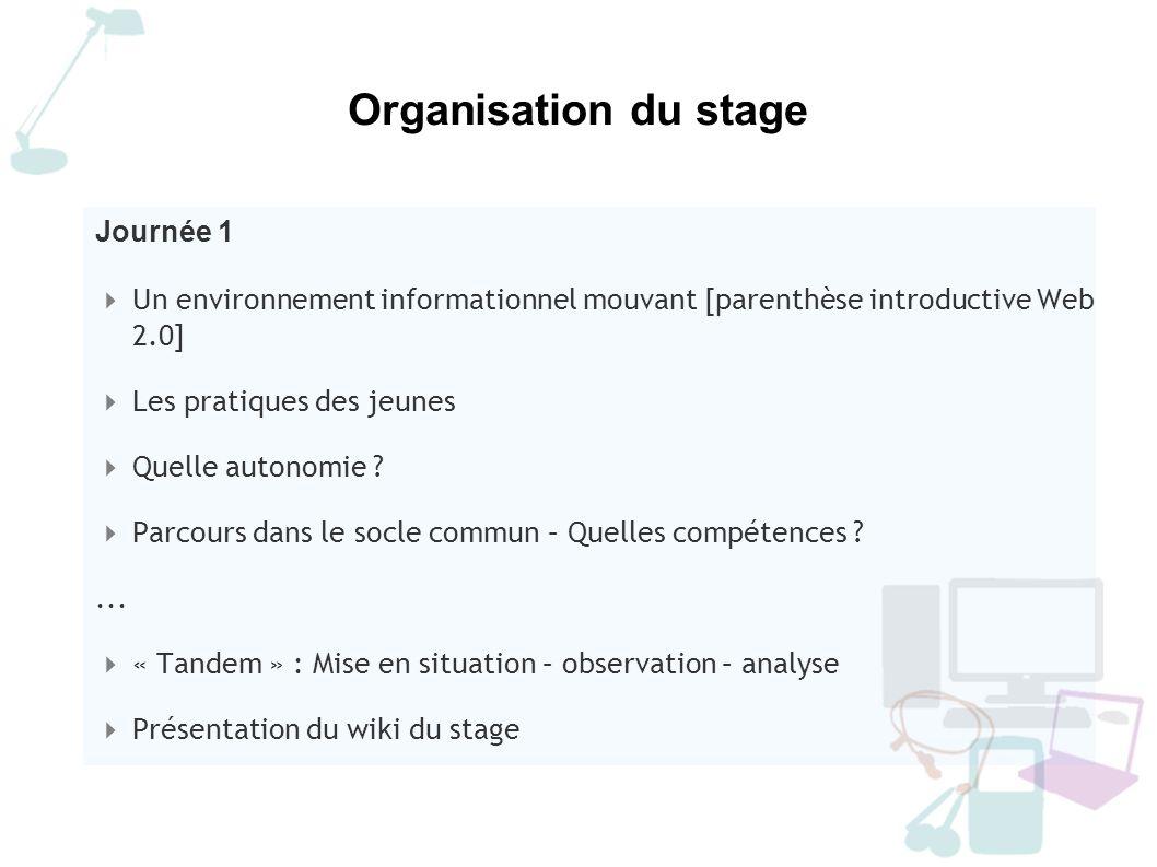Organisation du stage Journée 1
