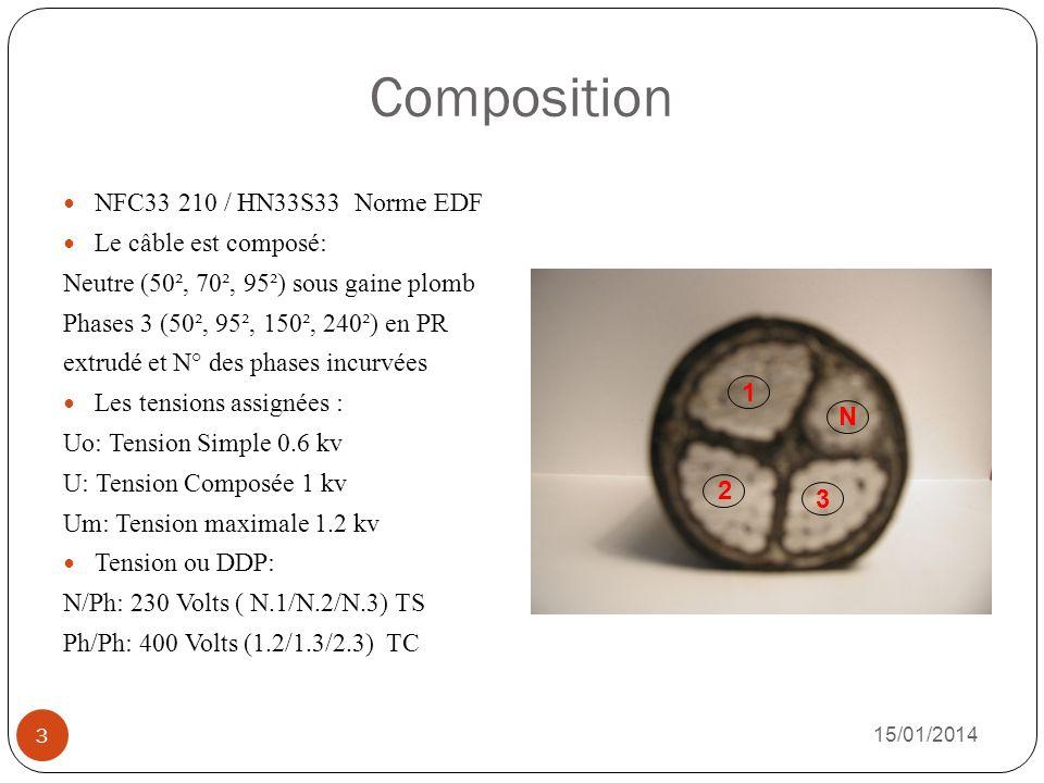 Composition NFC33 210 / HN33S33 Norme EDF Le câble est composé: