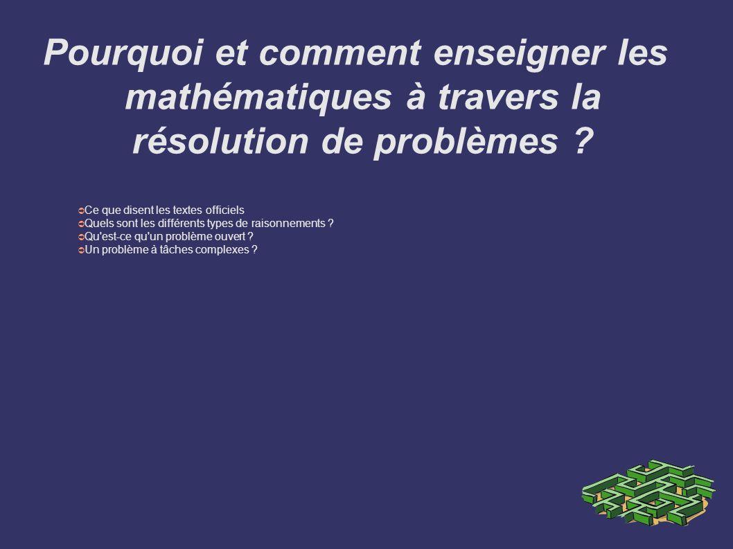 Pourquoi et comment enseigner les mathématiques à travers la résolution de problèmes