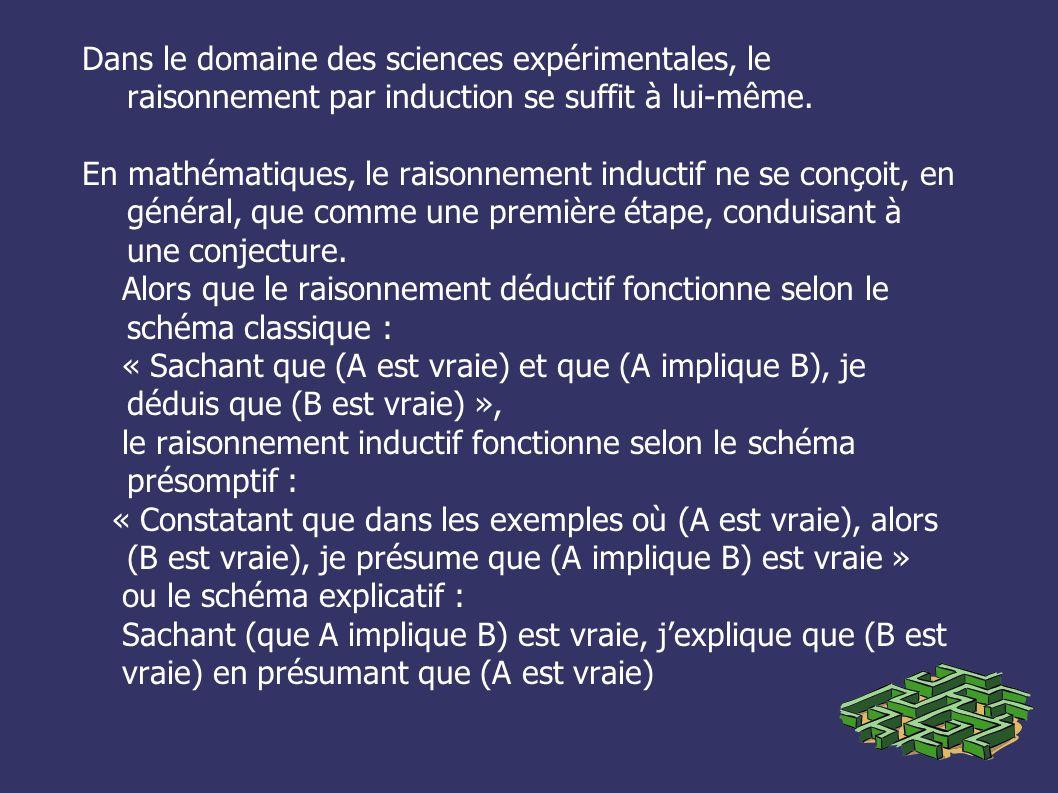 Dans le domaine des sciences expérimentales, le raisonnement par induction se suffit à lui-même.