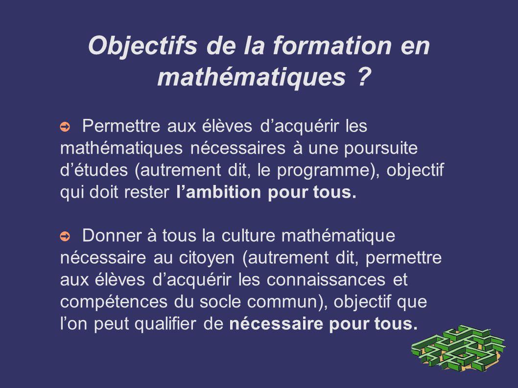 Objectifs de la formation en mathématiques