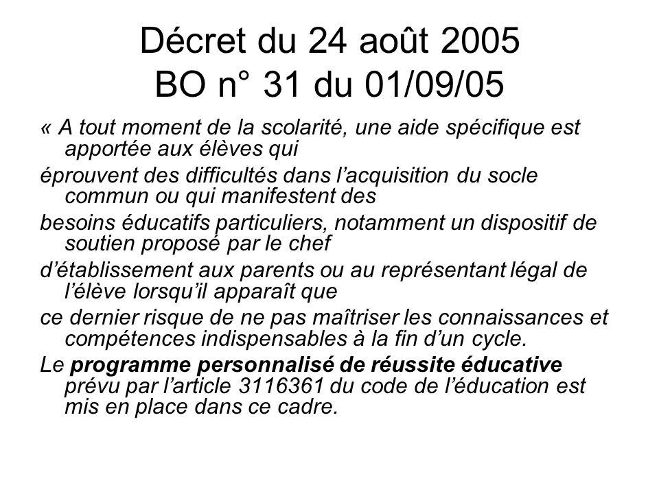 Décret du 24 août 2005 BO n° 31 du 01/09/05