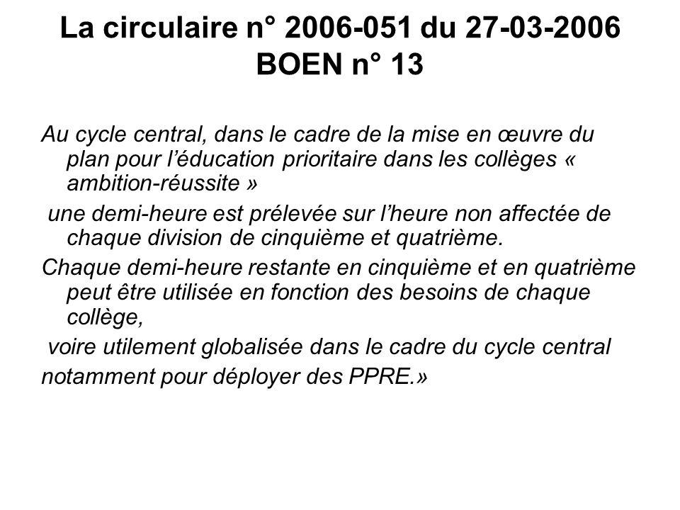 La circulaire n° 2006-051 du 27-03-2006 BOEN n° 13