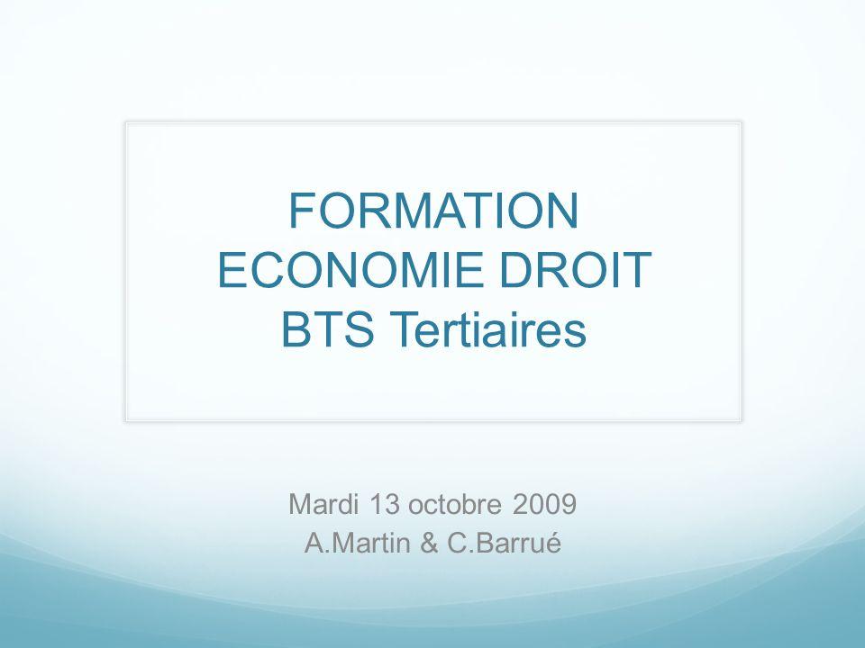 FORMATION ECONOMIE DROIT BTS Tertiaires
