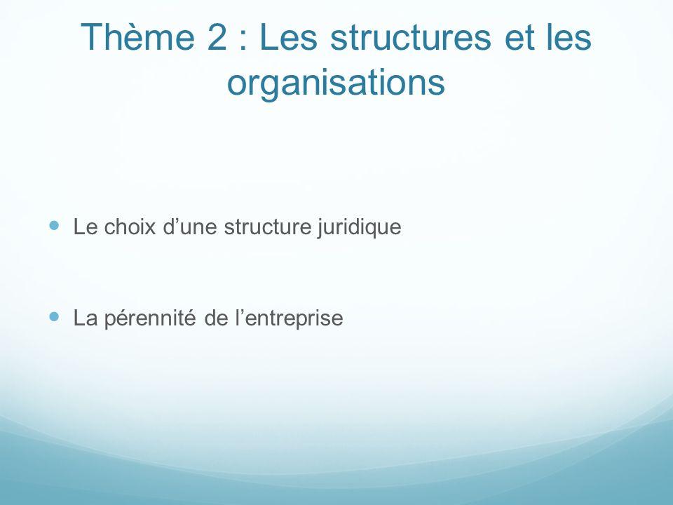 Thème 2 : Les structures et les organisations