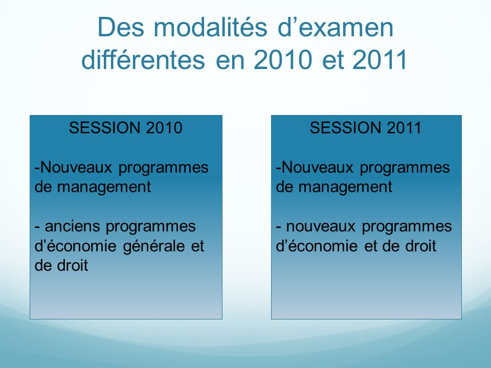 Des modalités d'examen différentes en 2010 et 2011