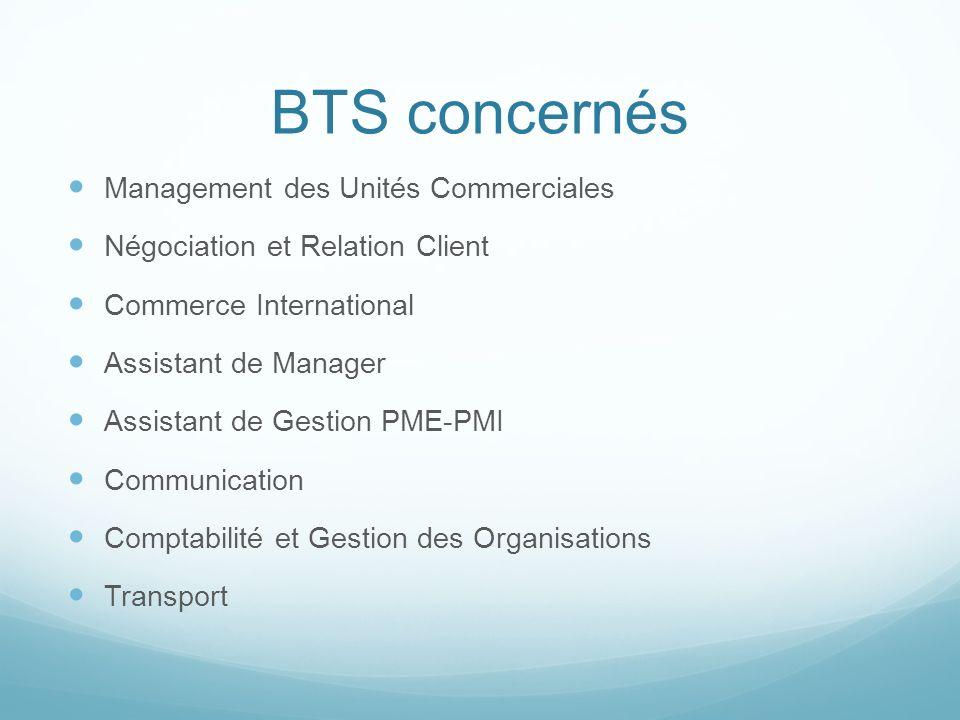 BTS concernés Management des Unités Commerciales