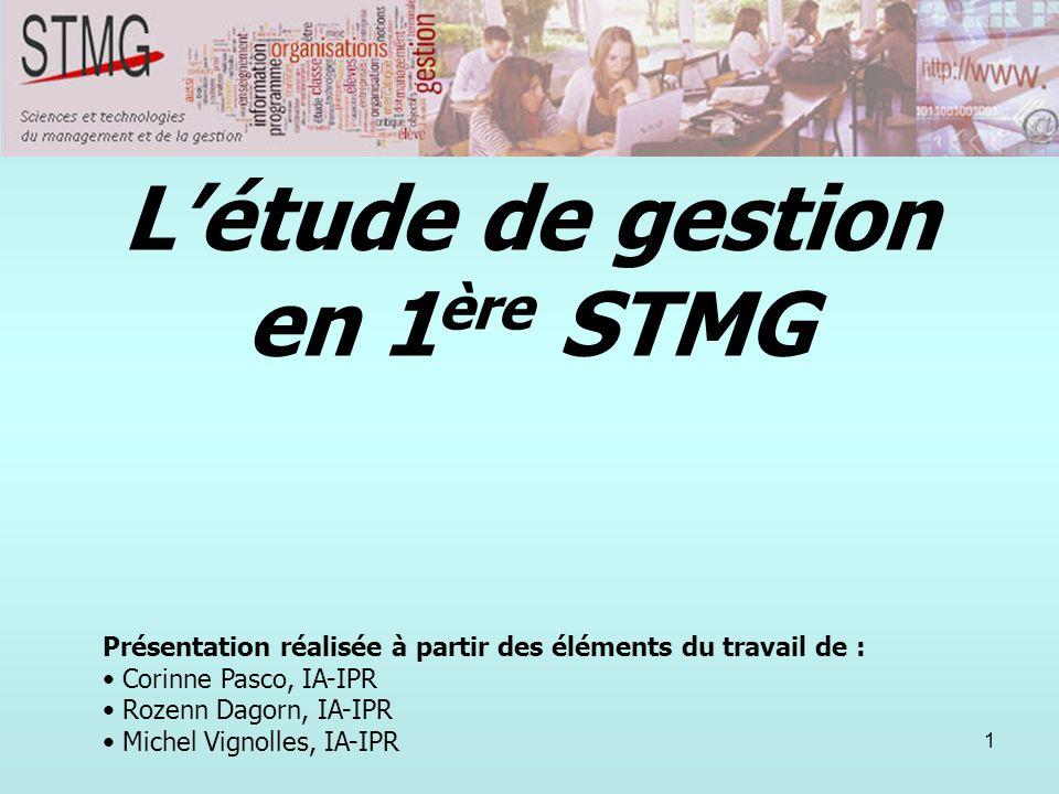 L'étude de gestion en 1ère STMG