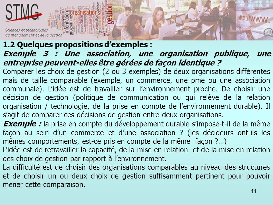 1.2 Quelques propositions d'exemples :
