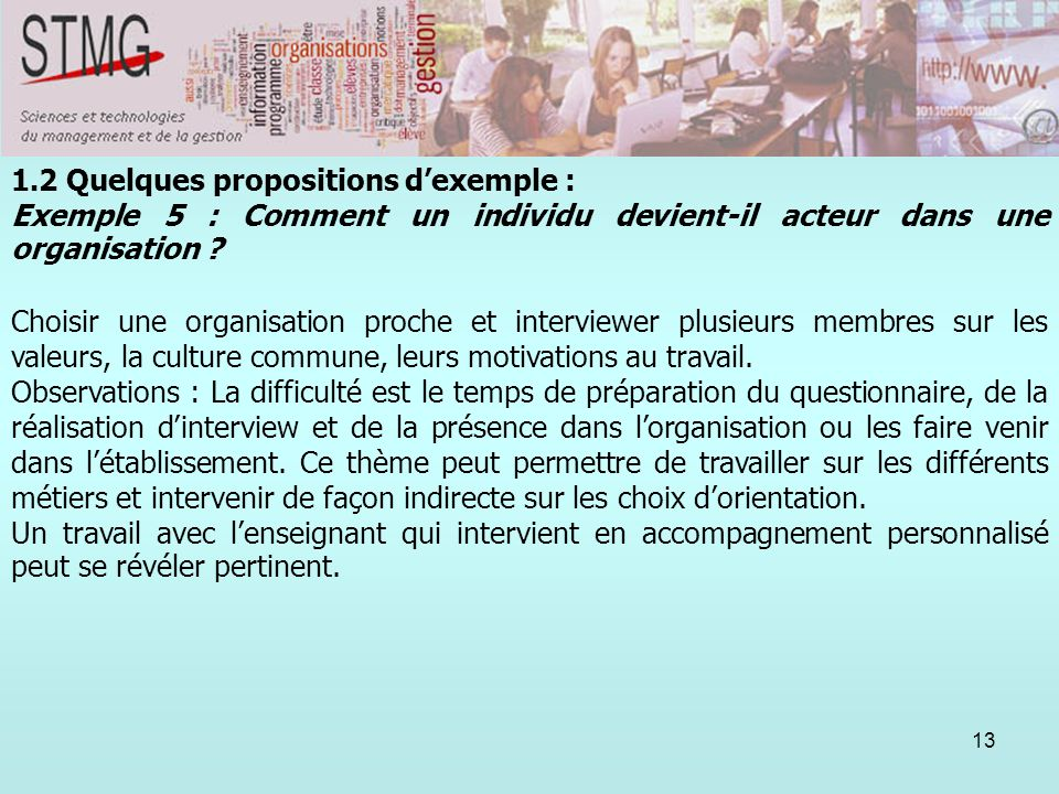 1.2 Quelques propositions d'exemple :