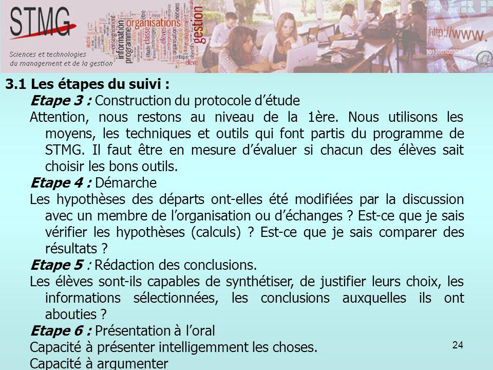 3.1 Les étapes du suivi :Etape 3 : Construction du protocole d'étude.