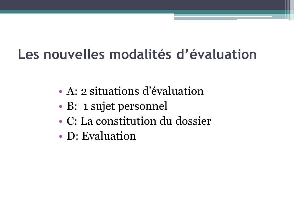 Les nouvelles modalités d'évaluation