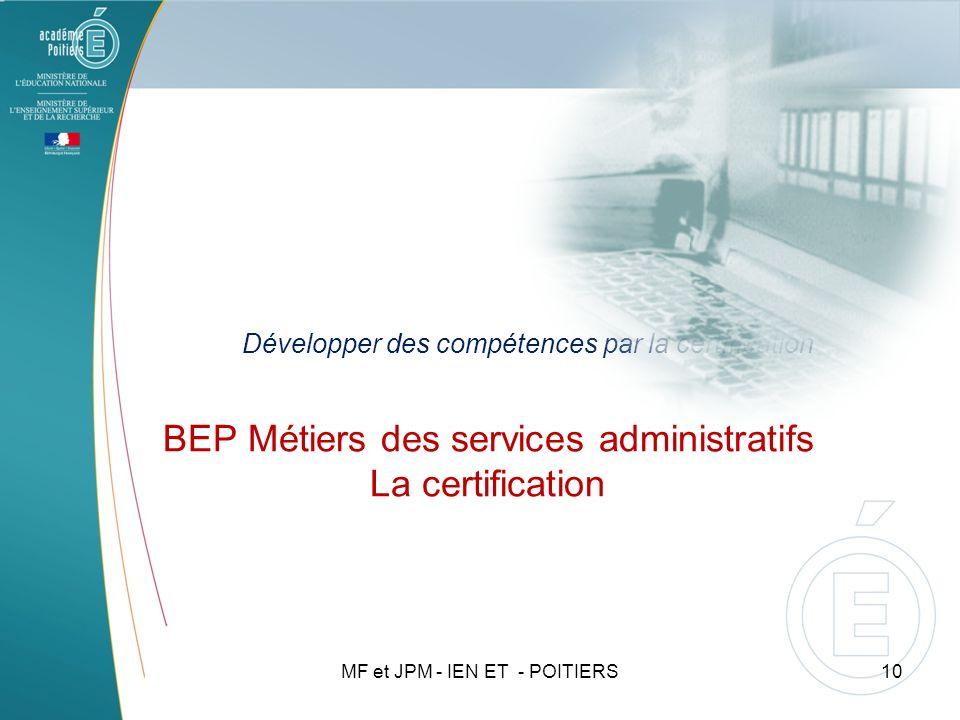 BEP Métiers des services administratifs La certification
