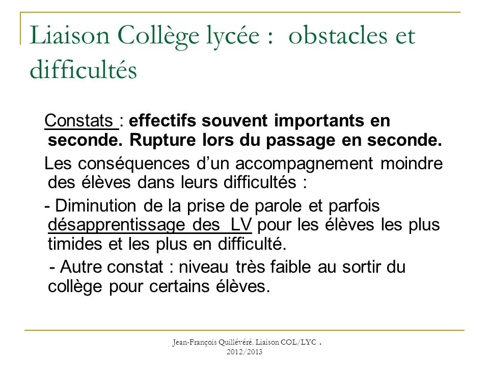 Liaison Collège lycée : obstacles et difficultés