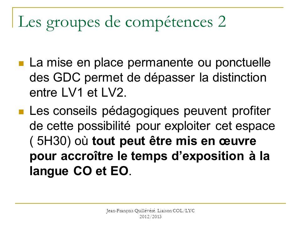 Les groupes de compétences 2